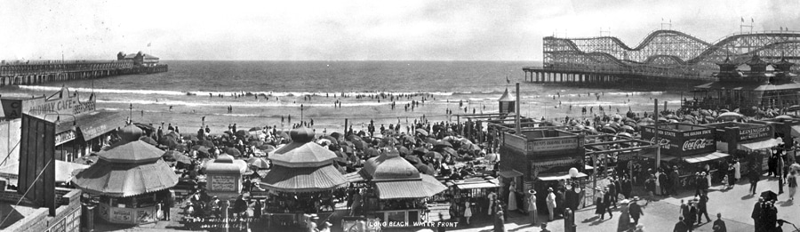 Long beach vintage pier panoramic photograph
