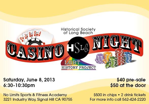 HSLB Casino Night LGBT history project flier
