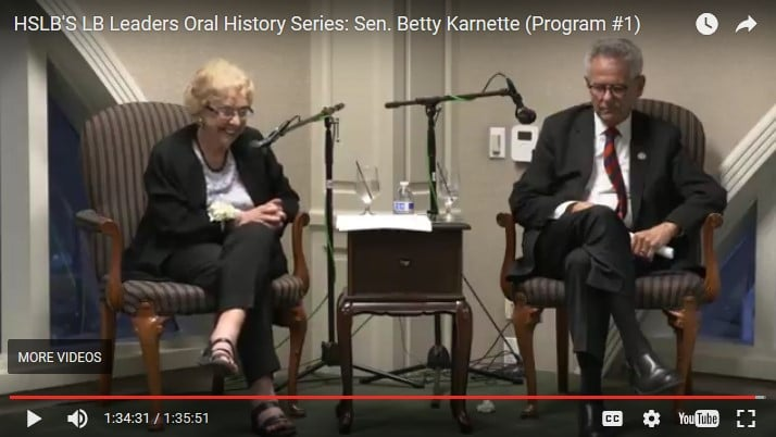 2017–05-10, Oral History Interview of Betty Karnette – video – youtube screen