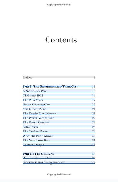 Long Beach Chronicles table of contents