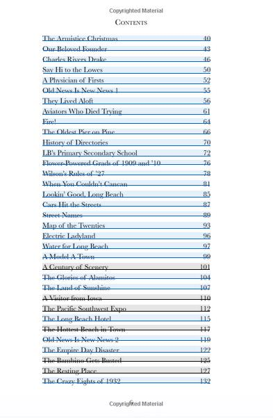 Long Beach Chronicles table of contents 2