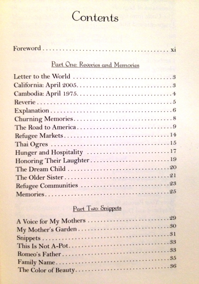table to contents for book-reflections of a khmer soul