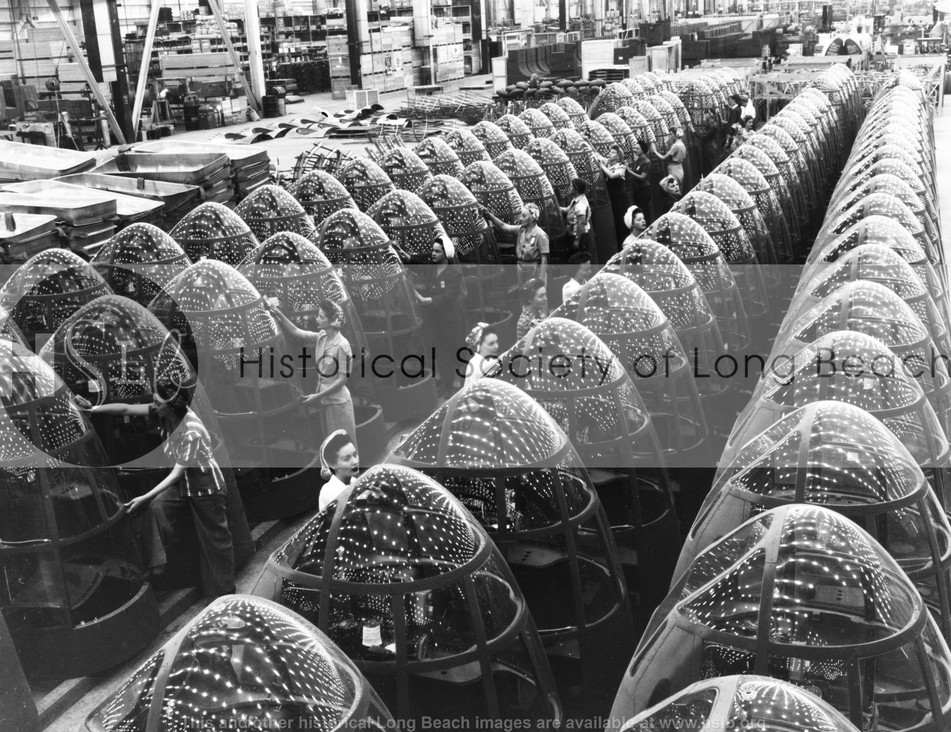 Nose cones at McDonnell Douglas, 1942 vintage photograph