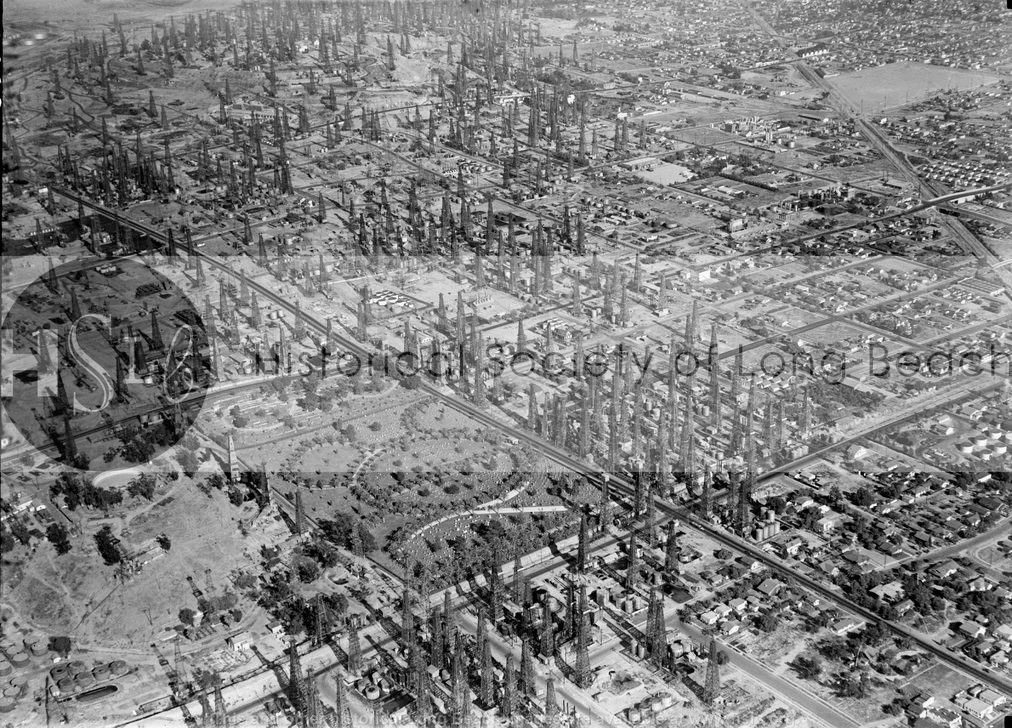 Long Beach cemeteries, 1936 historical photograph