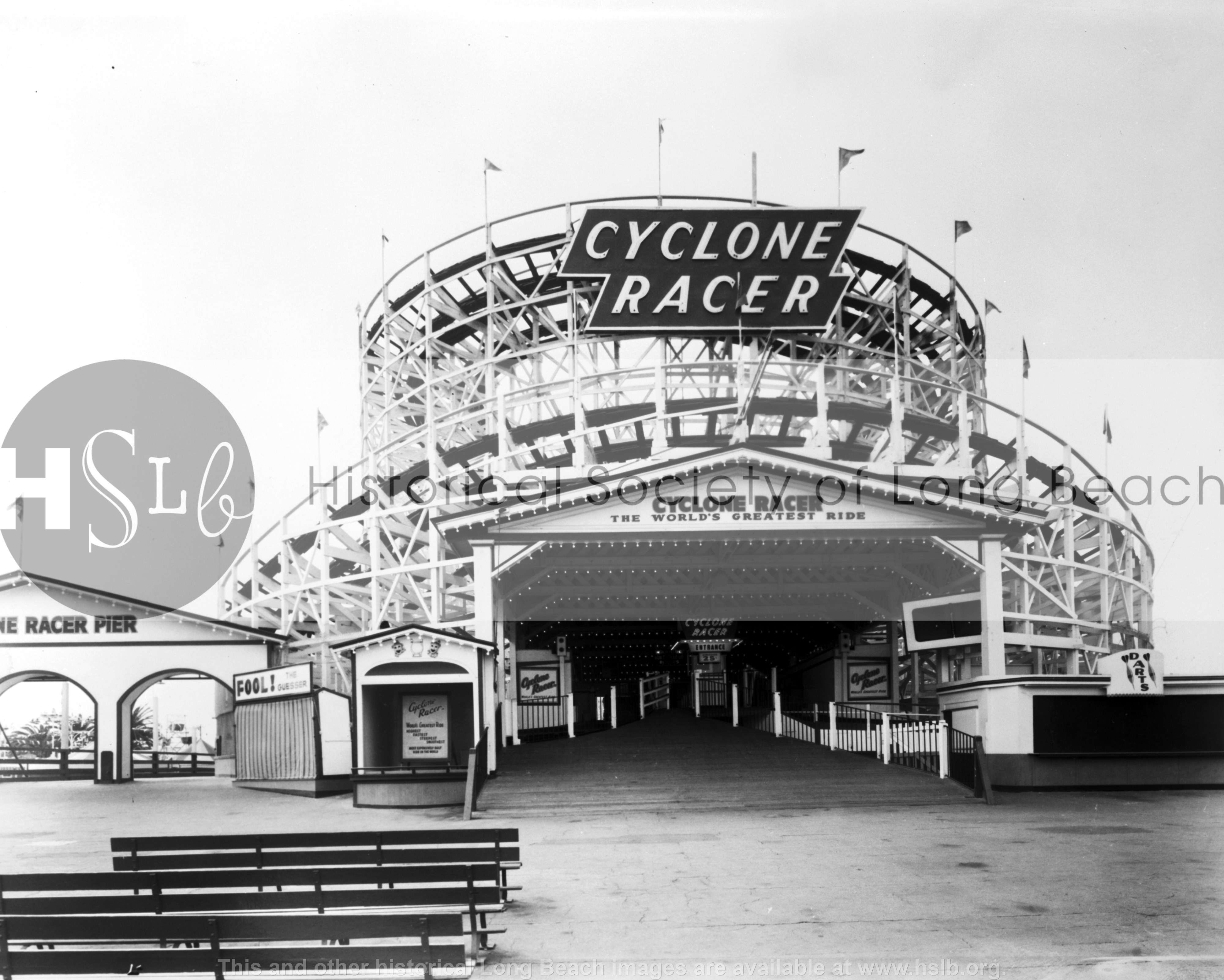 Cyclone Racer entrance, 1959 historical photo