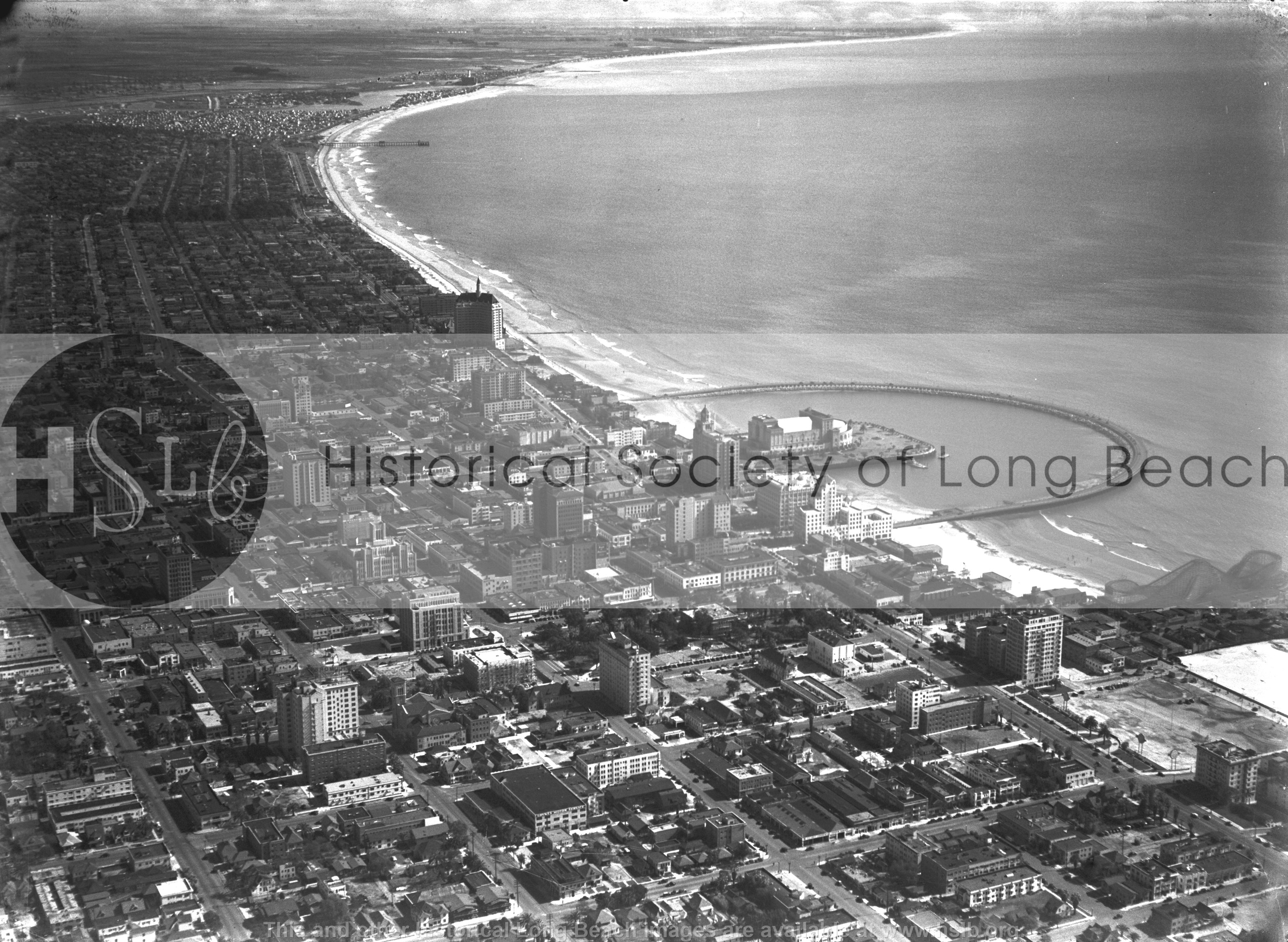 Long Beach aerial, 1937 vintage photograph