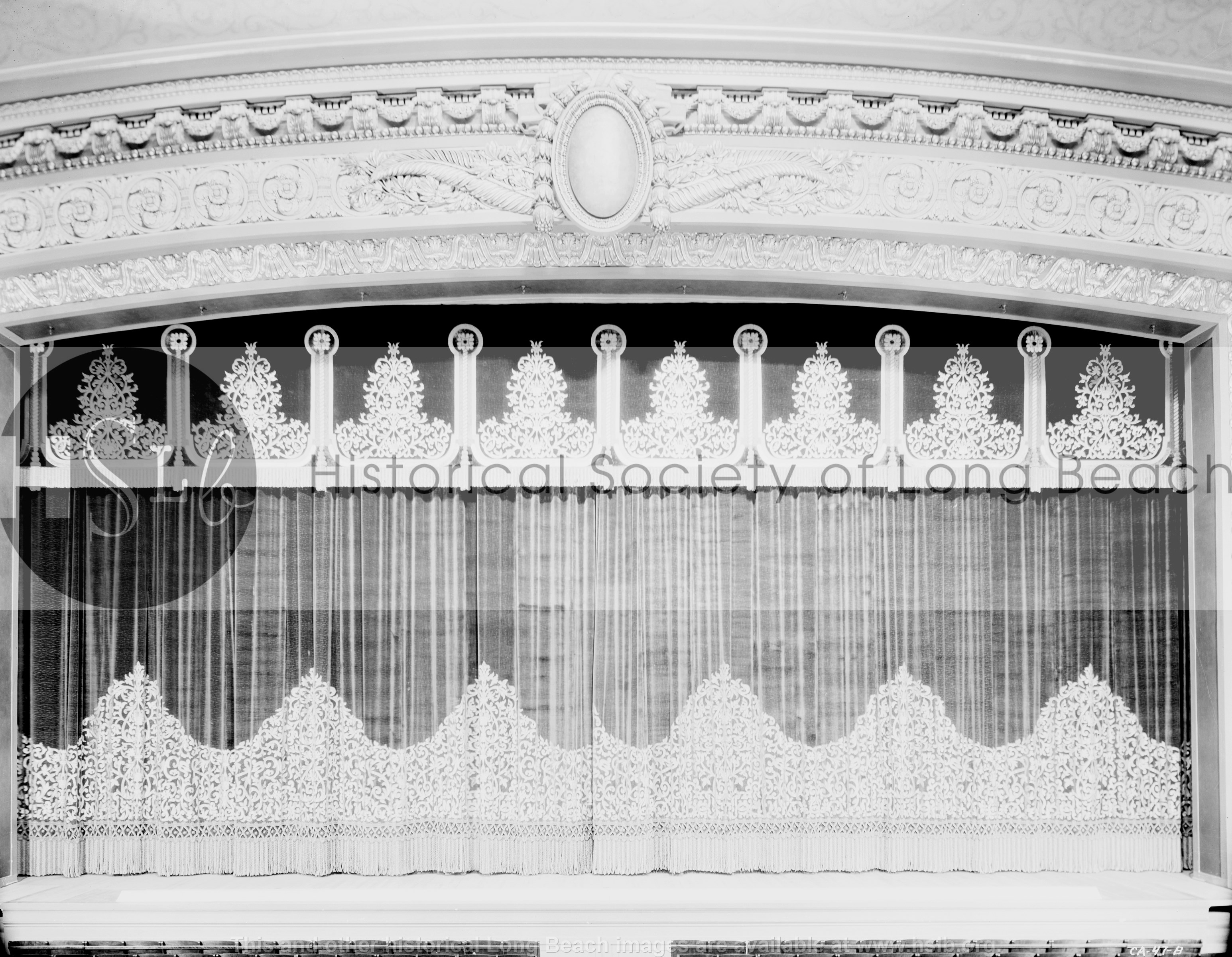 Municipal Auditorium curtains, 1932 vintage photograph