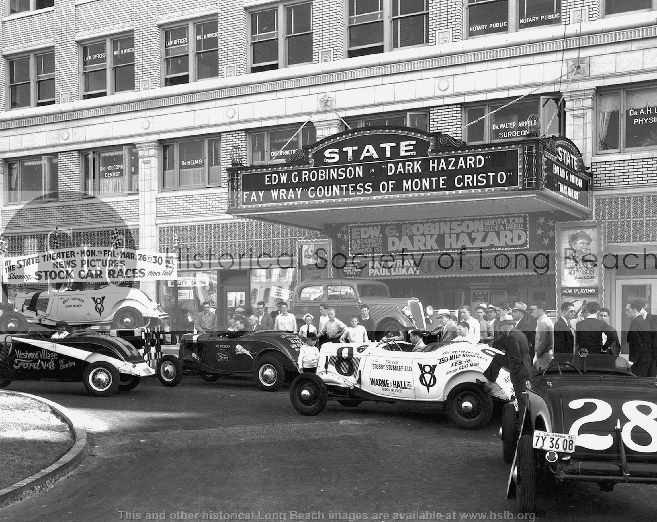 Autos at State Theatre, 1934 vintage photograph