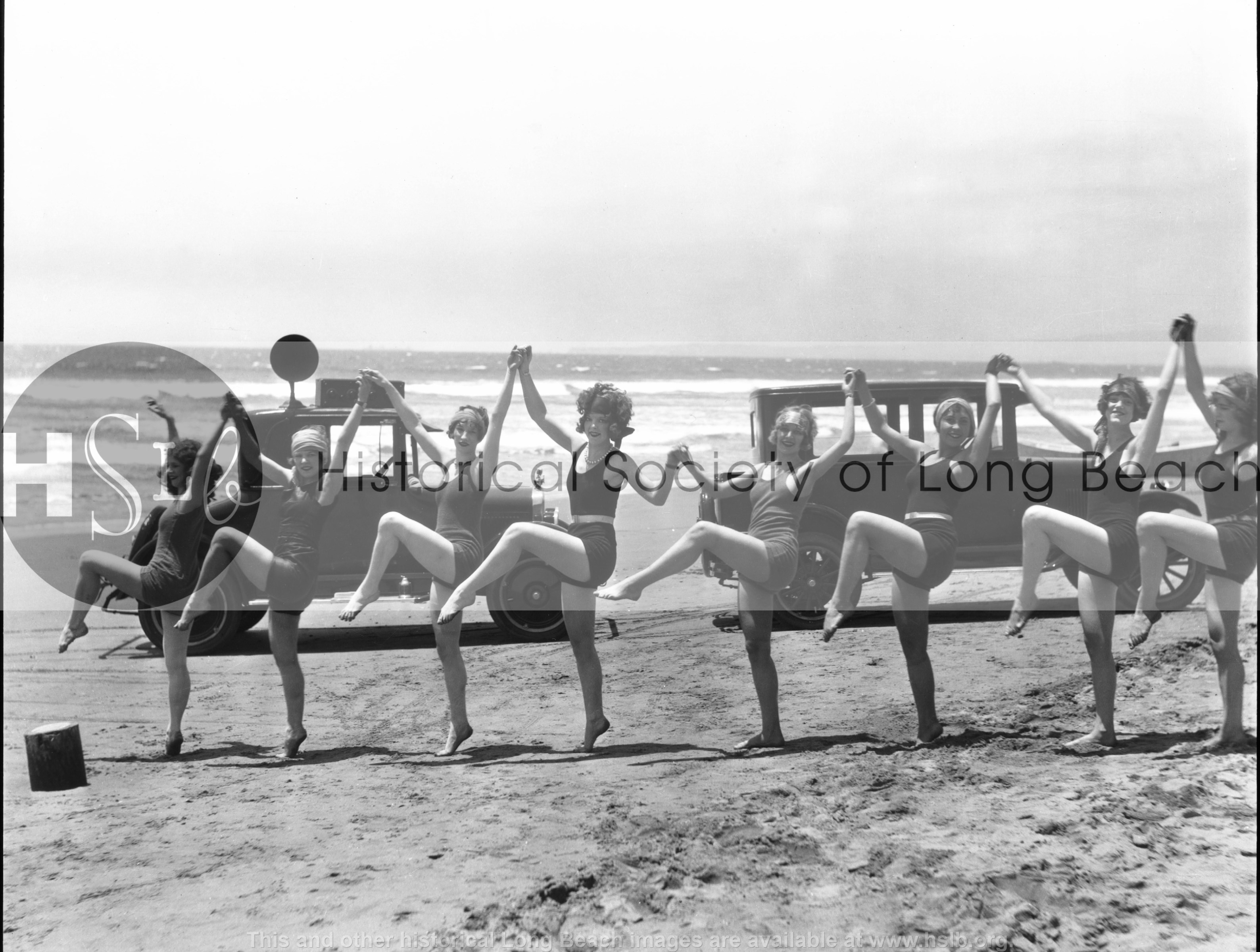 Bathers dancing, 1925 vintage photograph