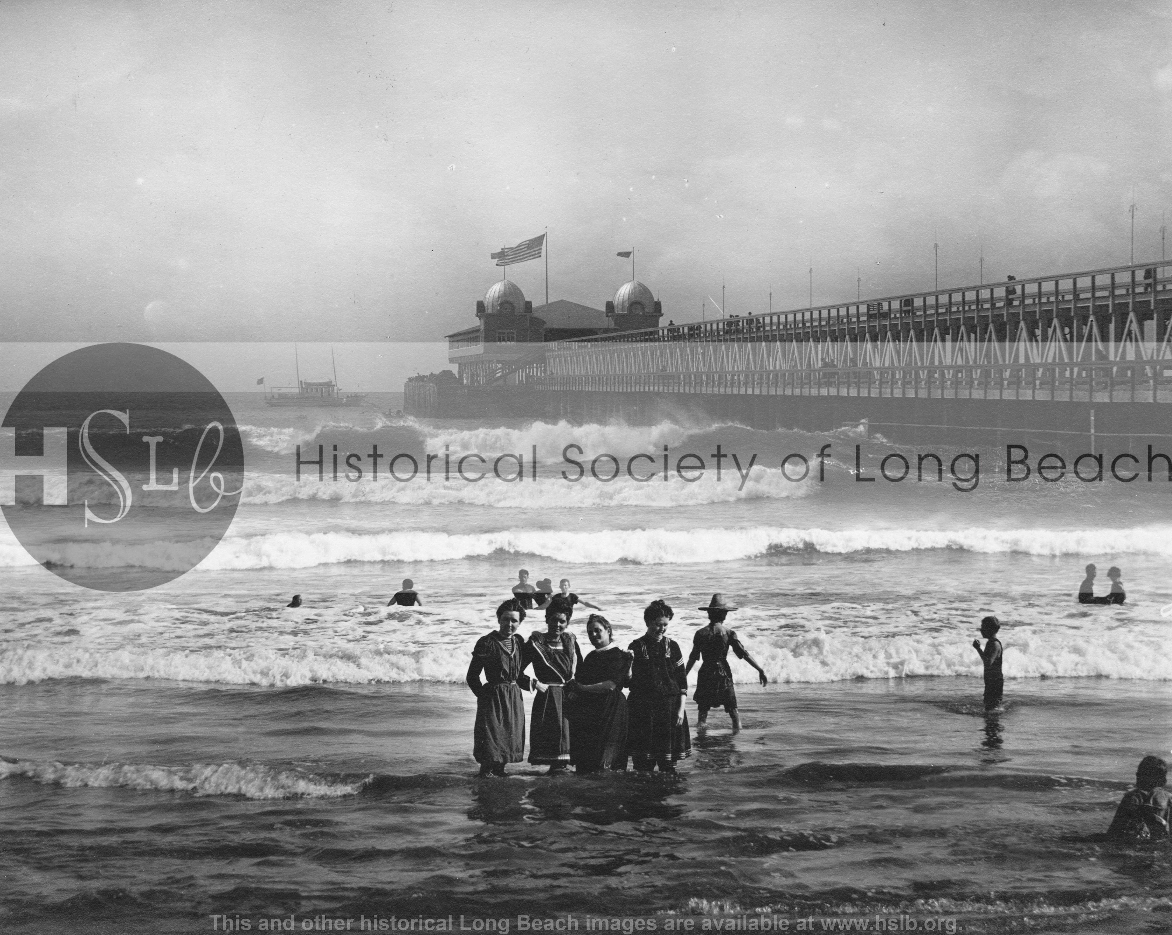 Bathers at Pine Ave. Pier, 1910 vintage photograph