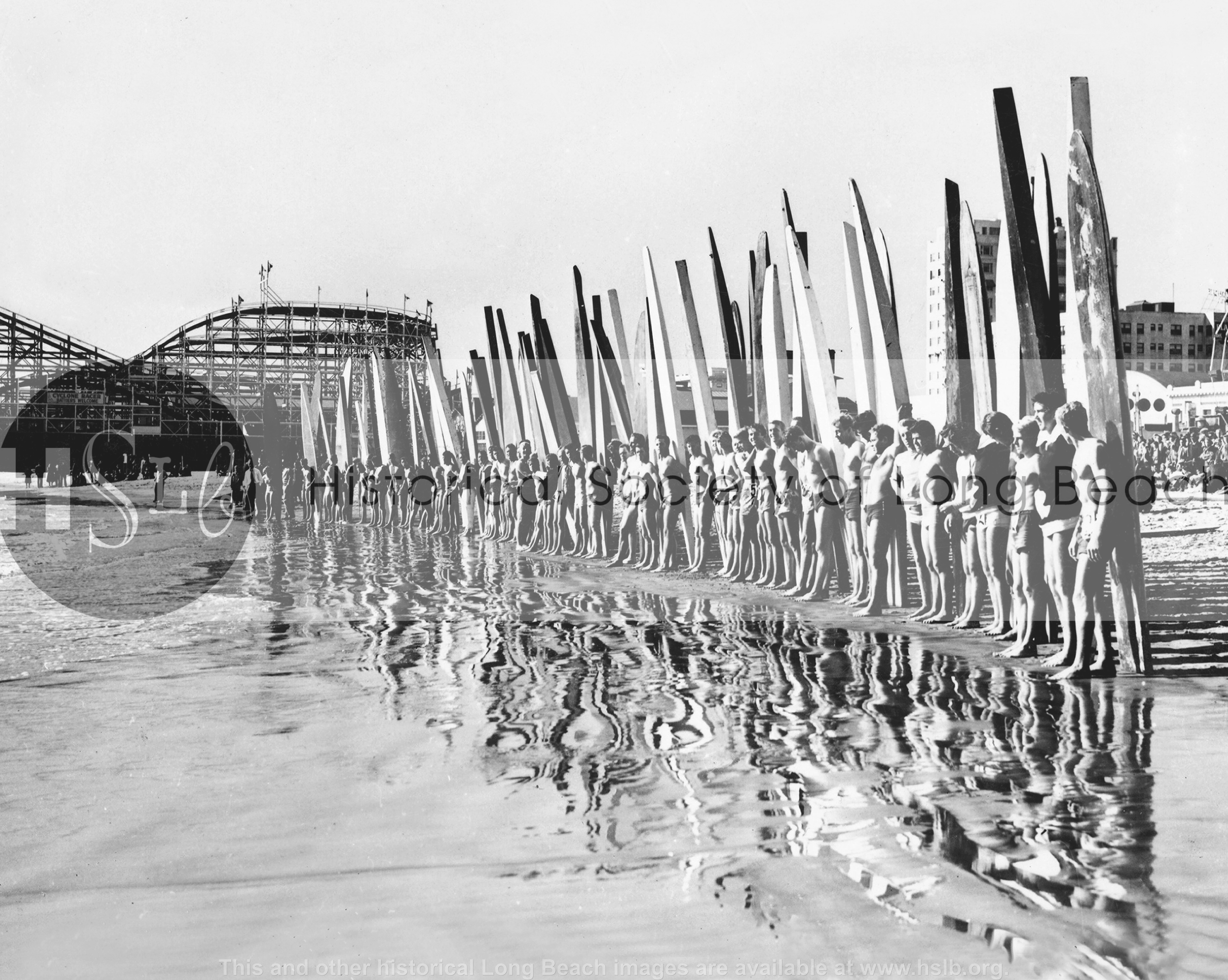 Surfing lineup, 1938 vintage photograph