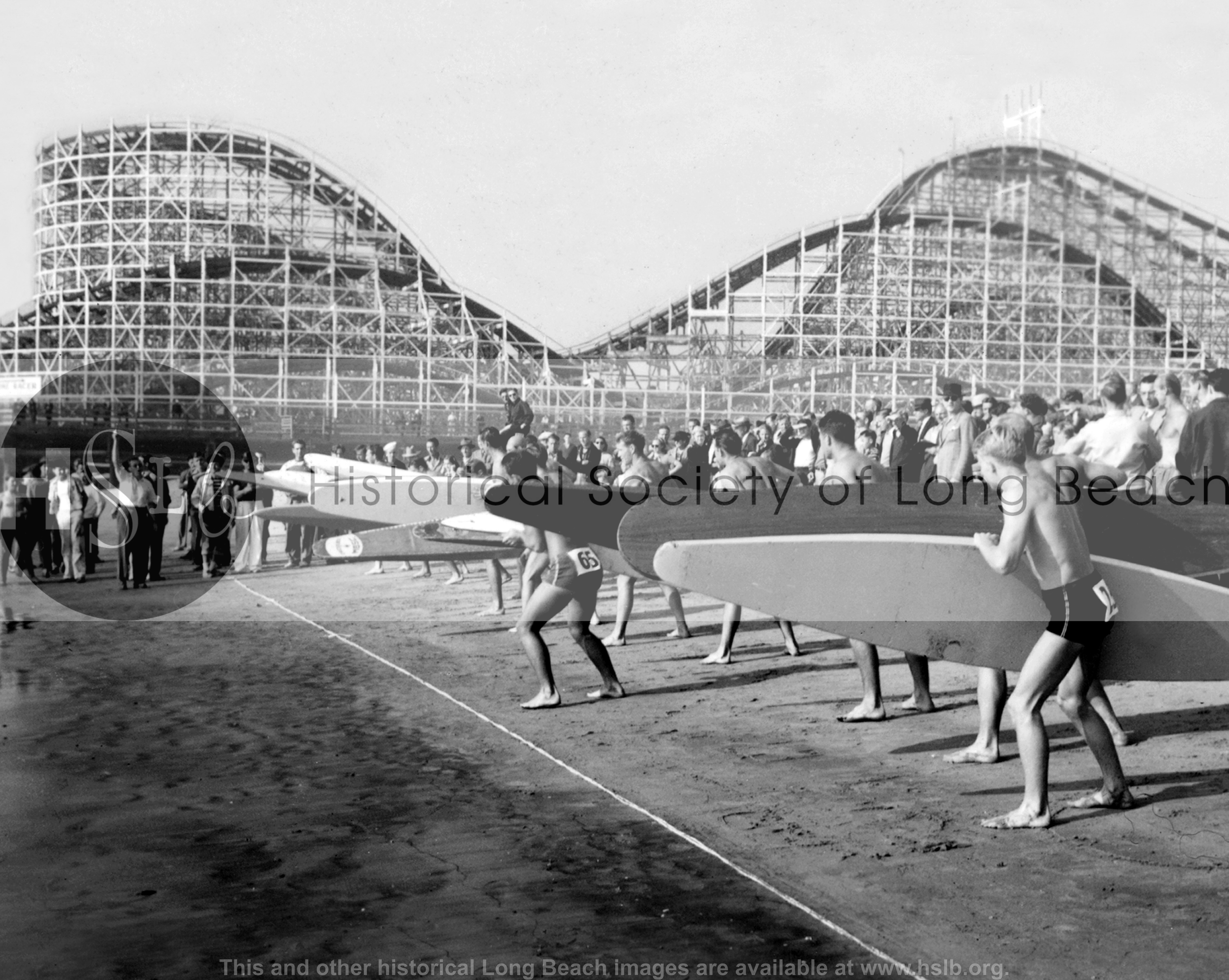 Surfing ready for the gun, 1938 vintage photograph