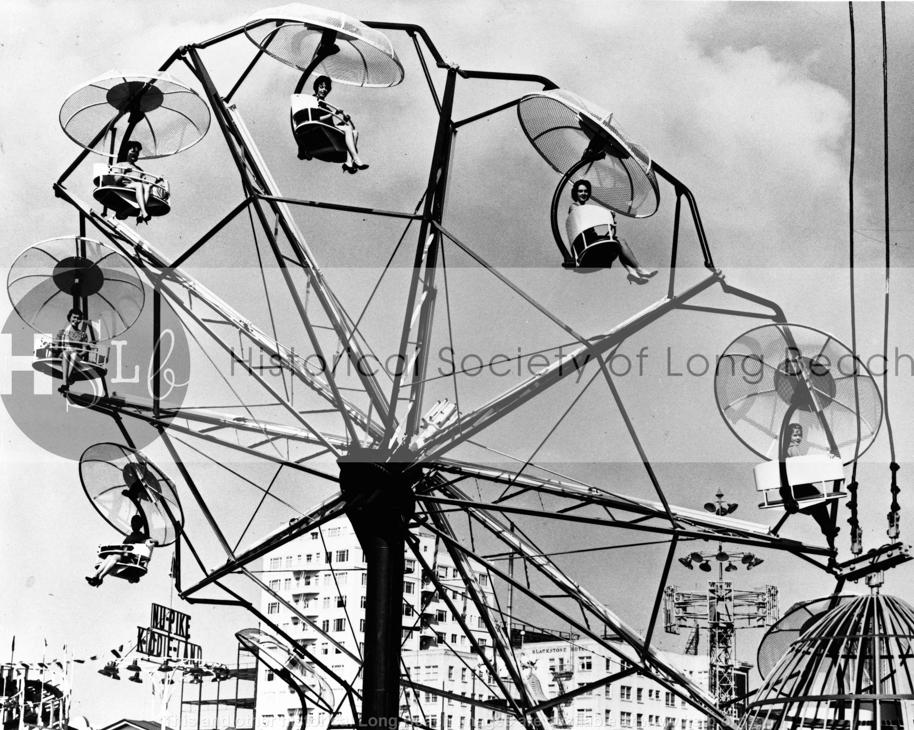 Ferris wheel beauty contestants, 1955 vintage photograph