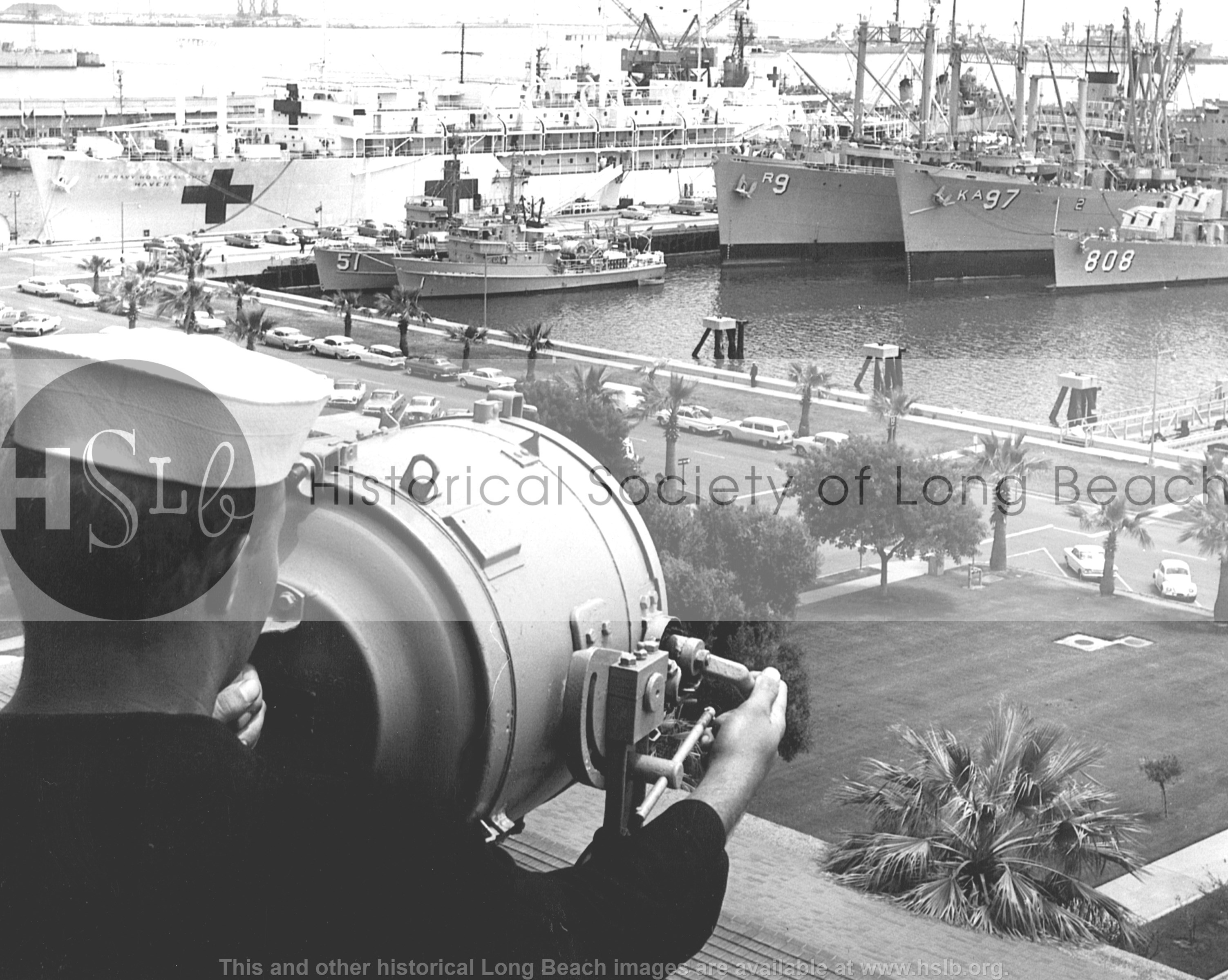 Navy harbor lookout, vintage photograph