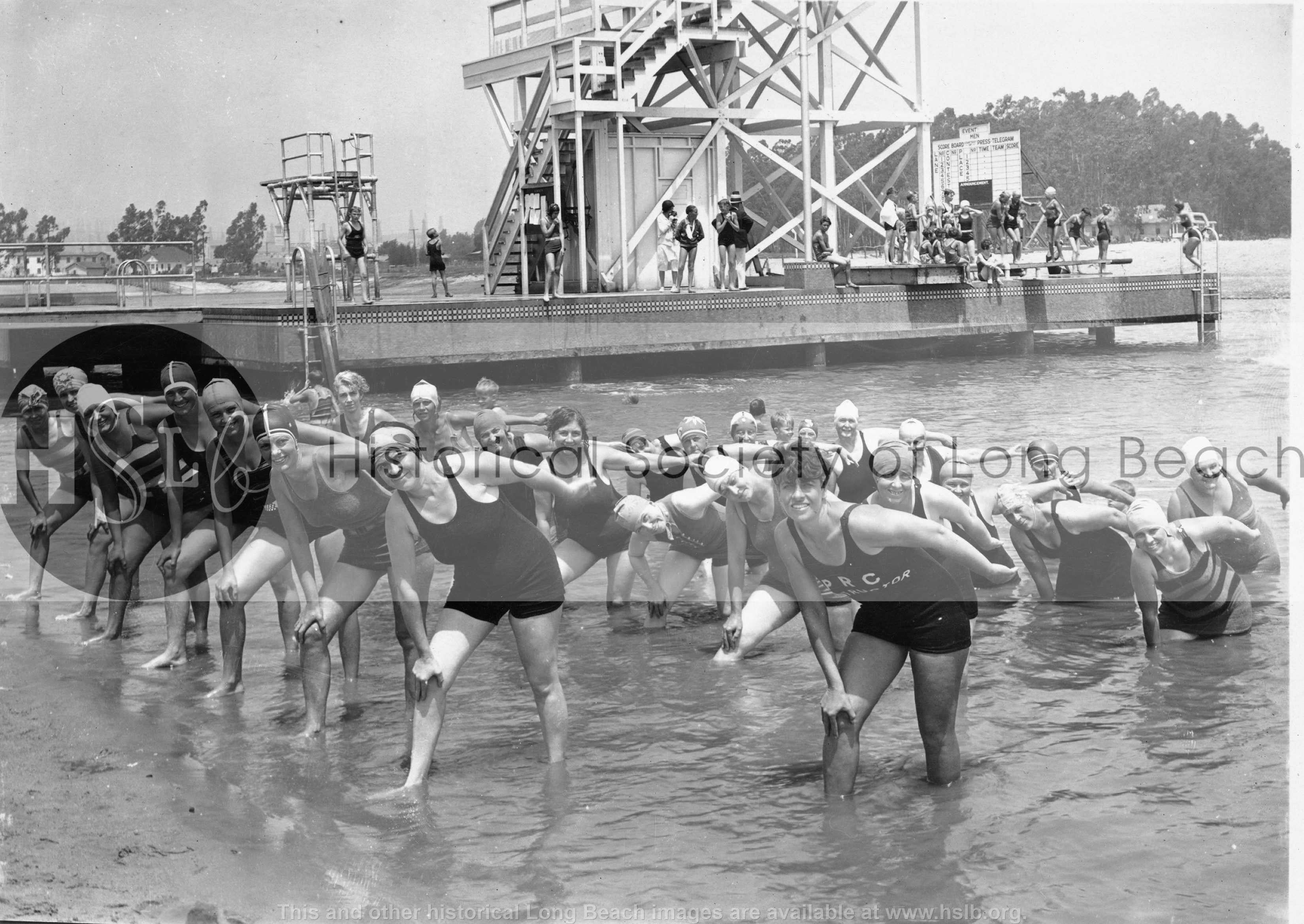 Colorado Lagoon swim lesson, 1935 Vintage photo