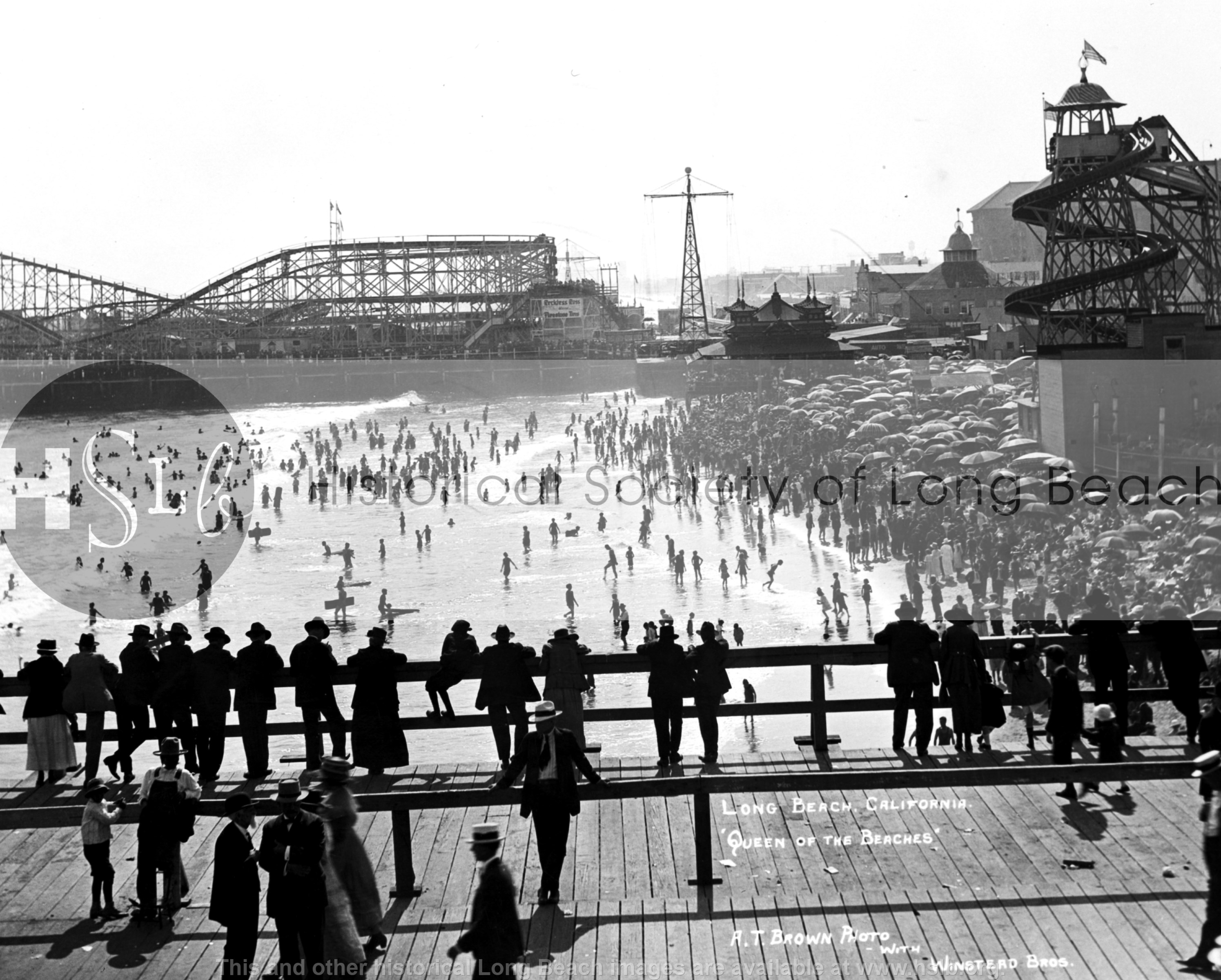 Pike from Pine Ave. Pier, 1915 vintage photograph