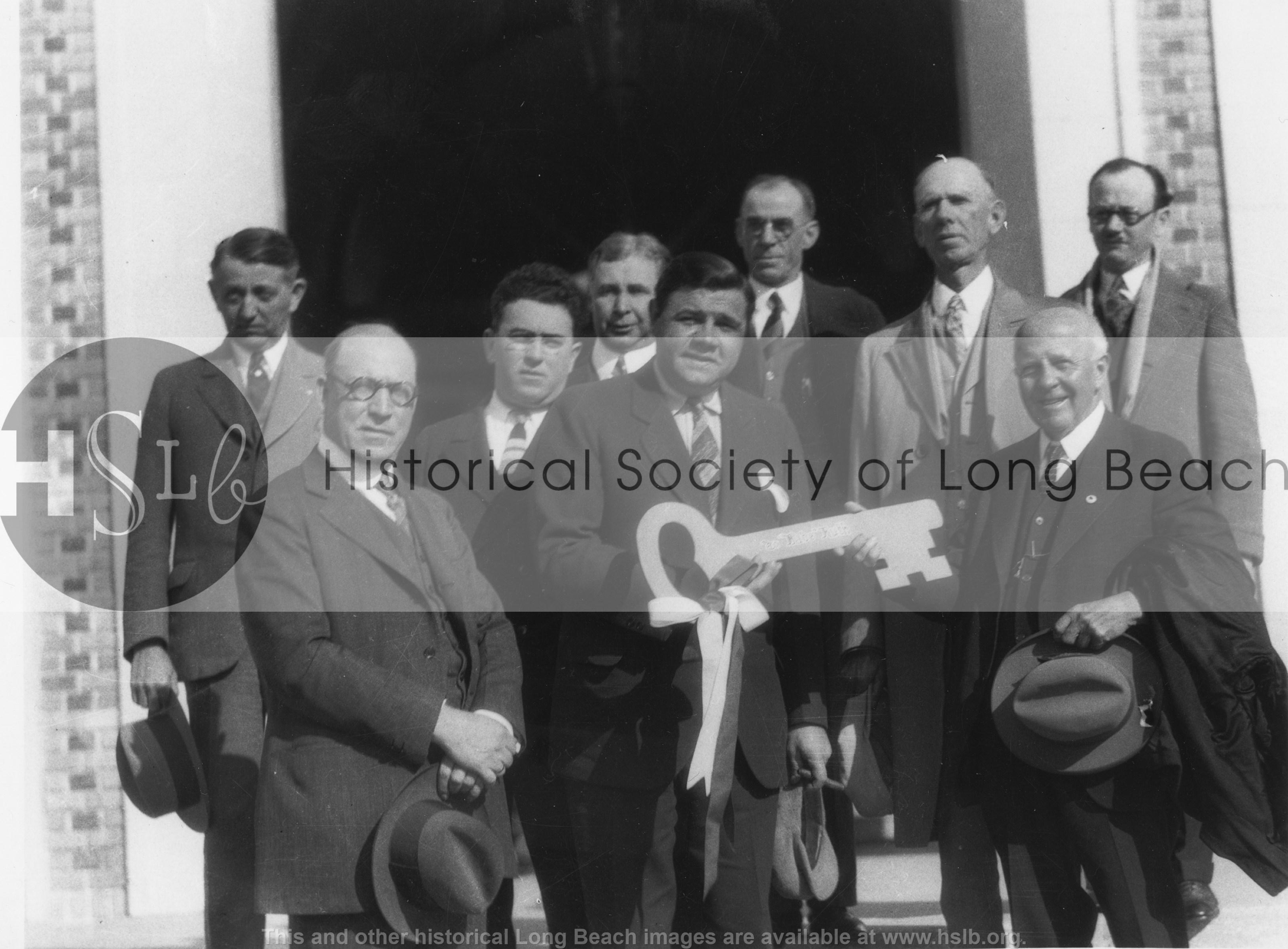 Babe Ruth & key to city, 1928 historical photo