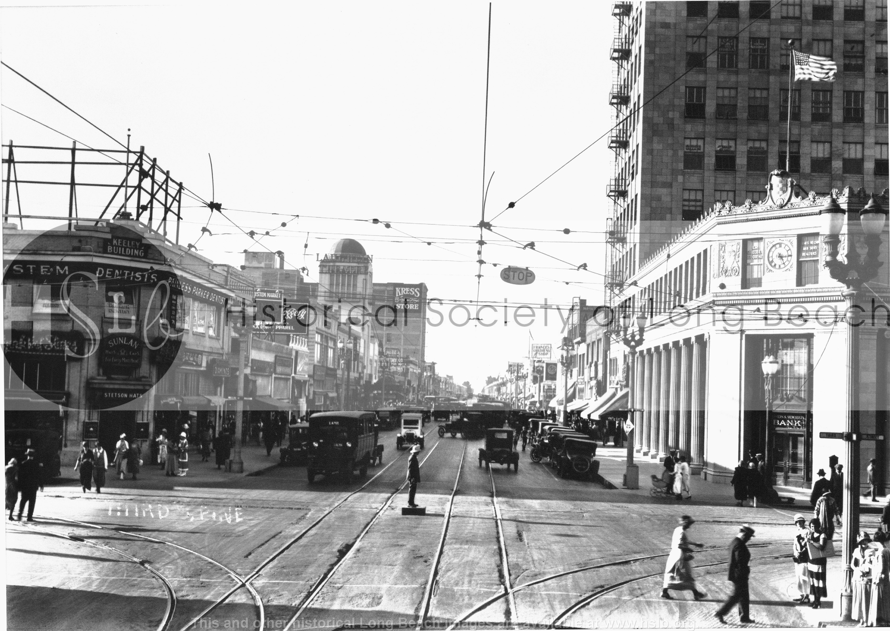 Pine Ave. & Third, 1925 vintage photo