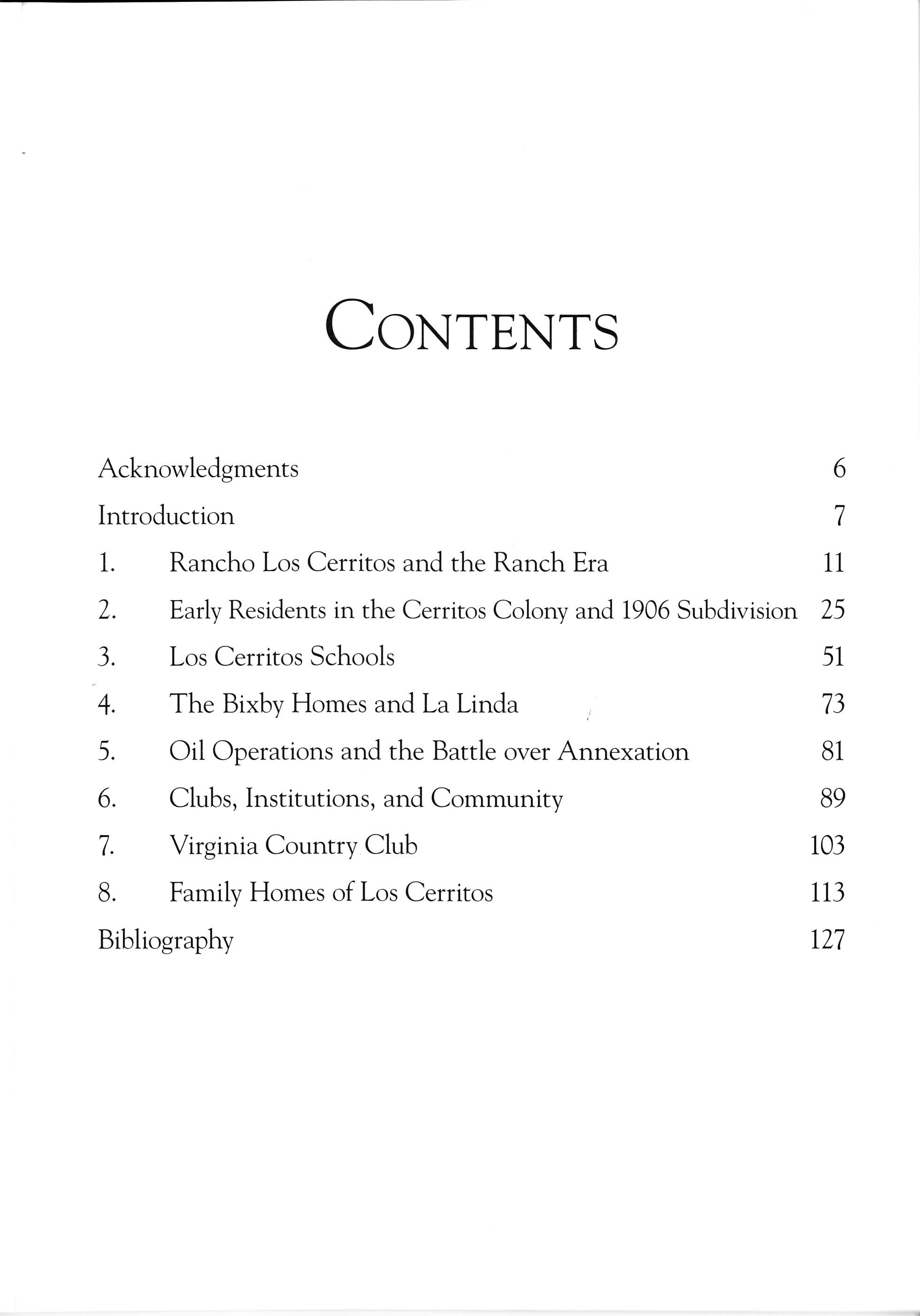 Long beach Los Cerritos table of contents