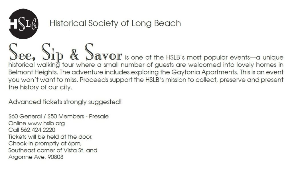 See sip and savor Historical society of long beach back