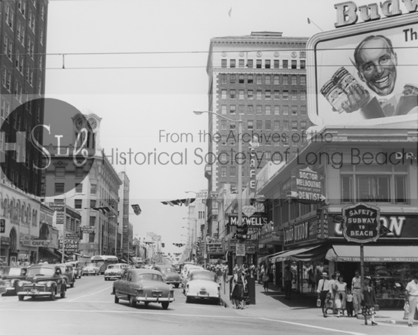 Looking north on Pine Ave. from Ocean Blvd., c. 1950s