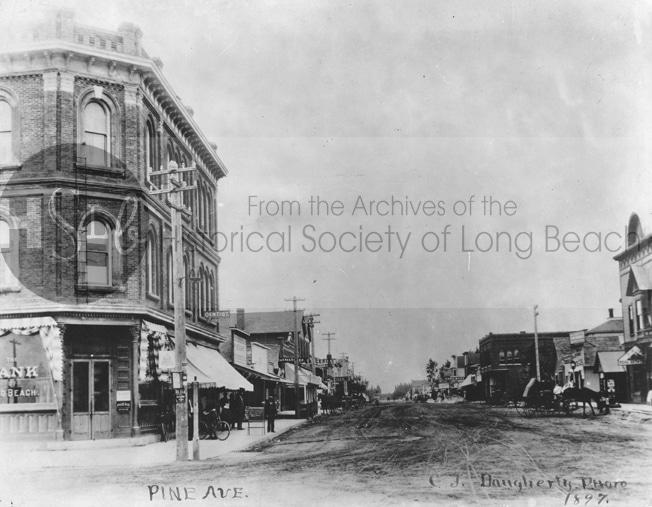 Long beach 1897 photograph of a downtown street