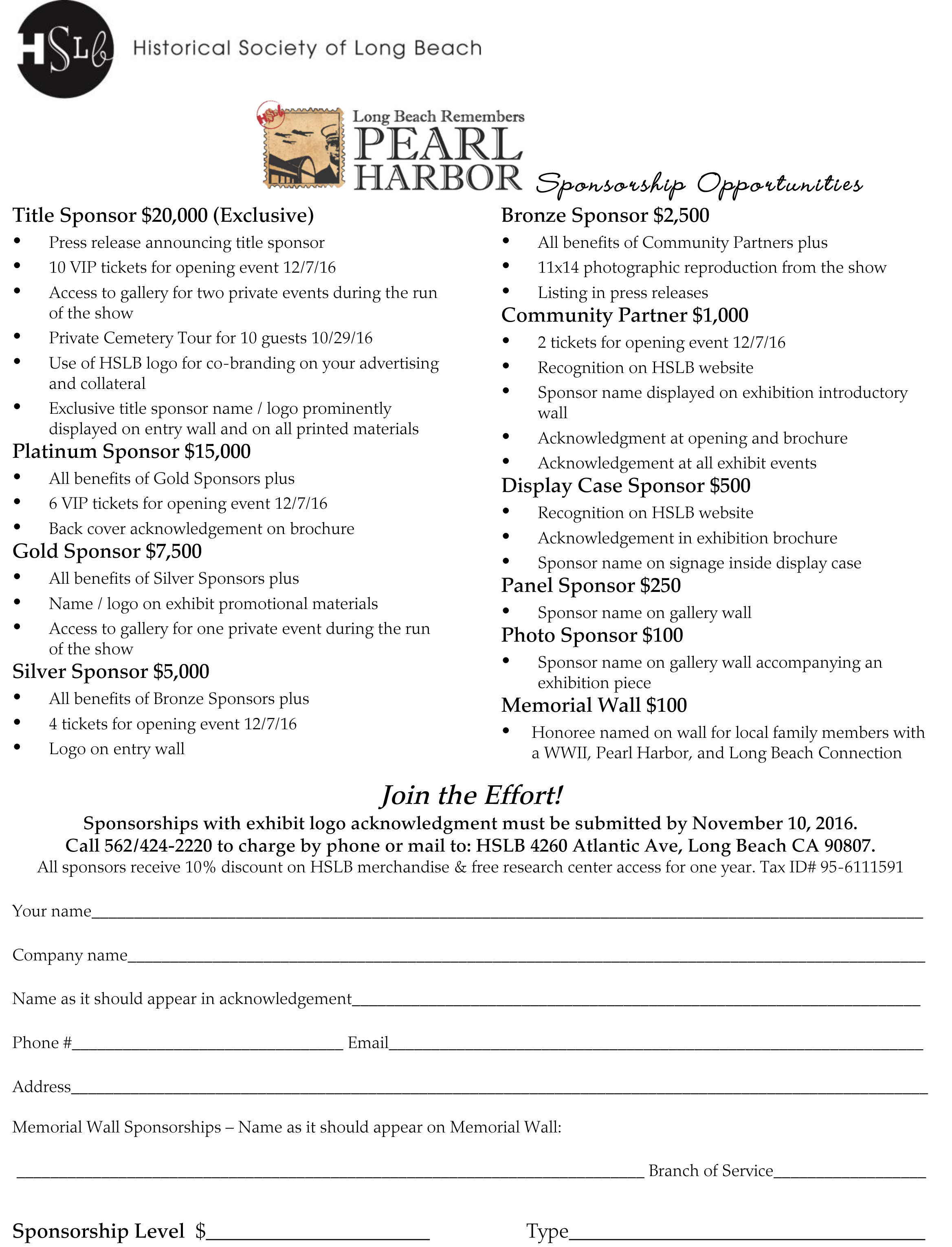 Pearl Harbor Sponsorship Form