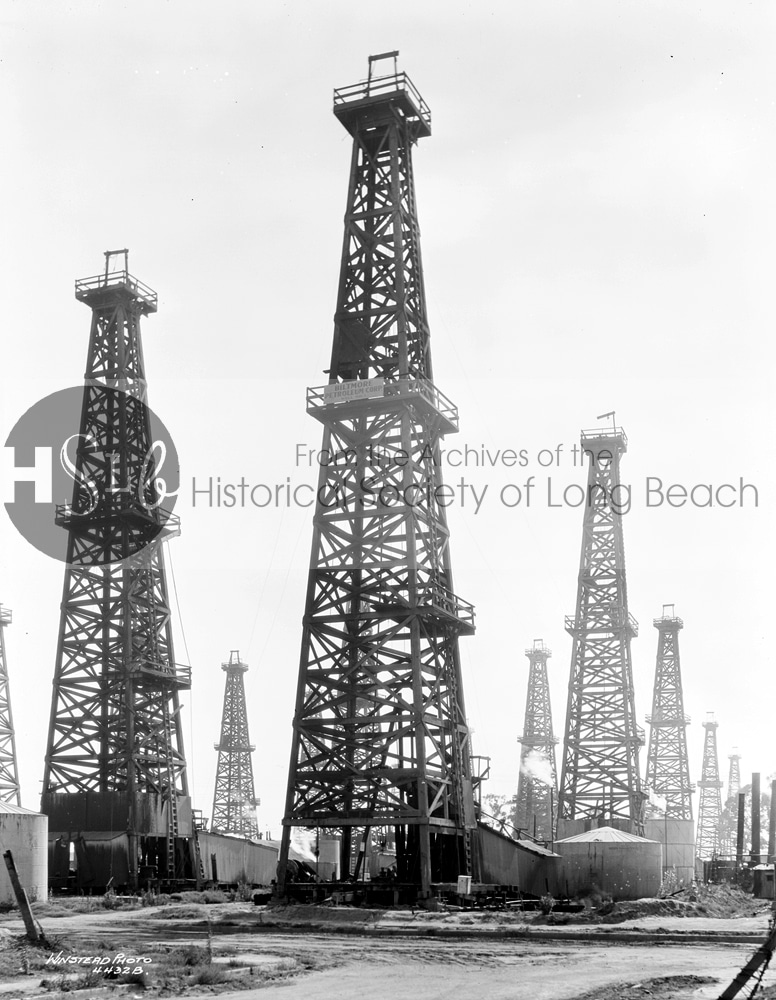Historical photo of long beach oil mines