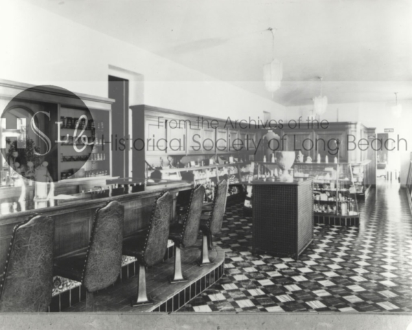 Soda fountain at the Harriman Jones Clinic, c. 1920