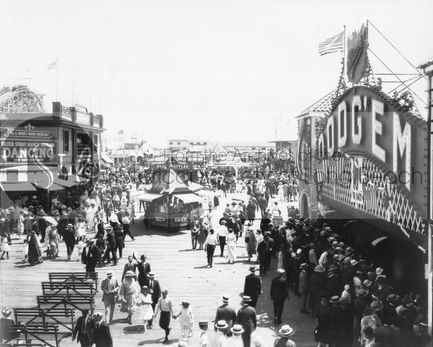 Long beach historical event black and white photograph