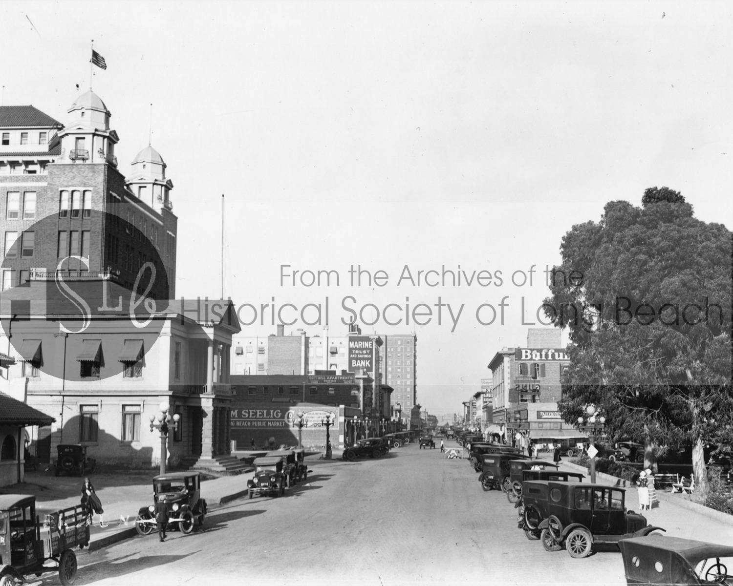 Historical society long beach street black and white photograph