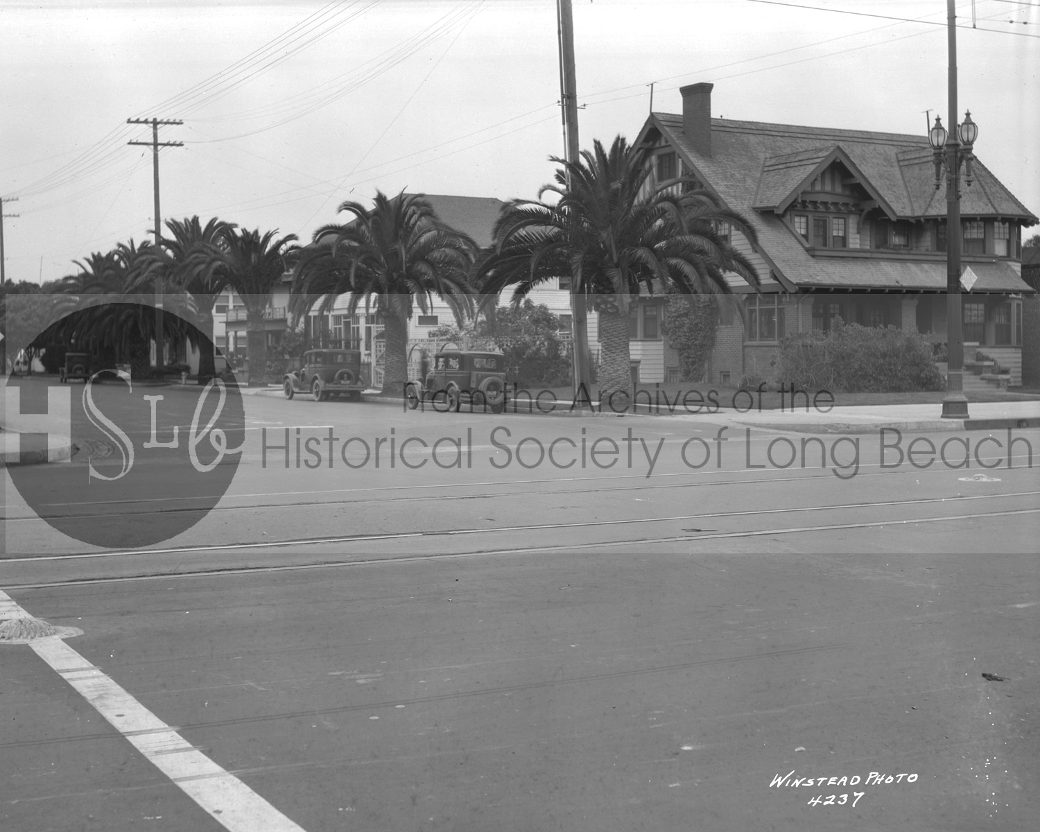 historical long beach homes vintage photograph