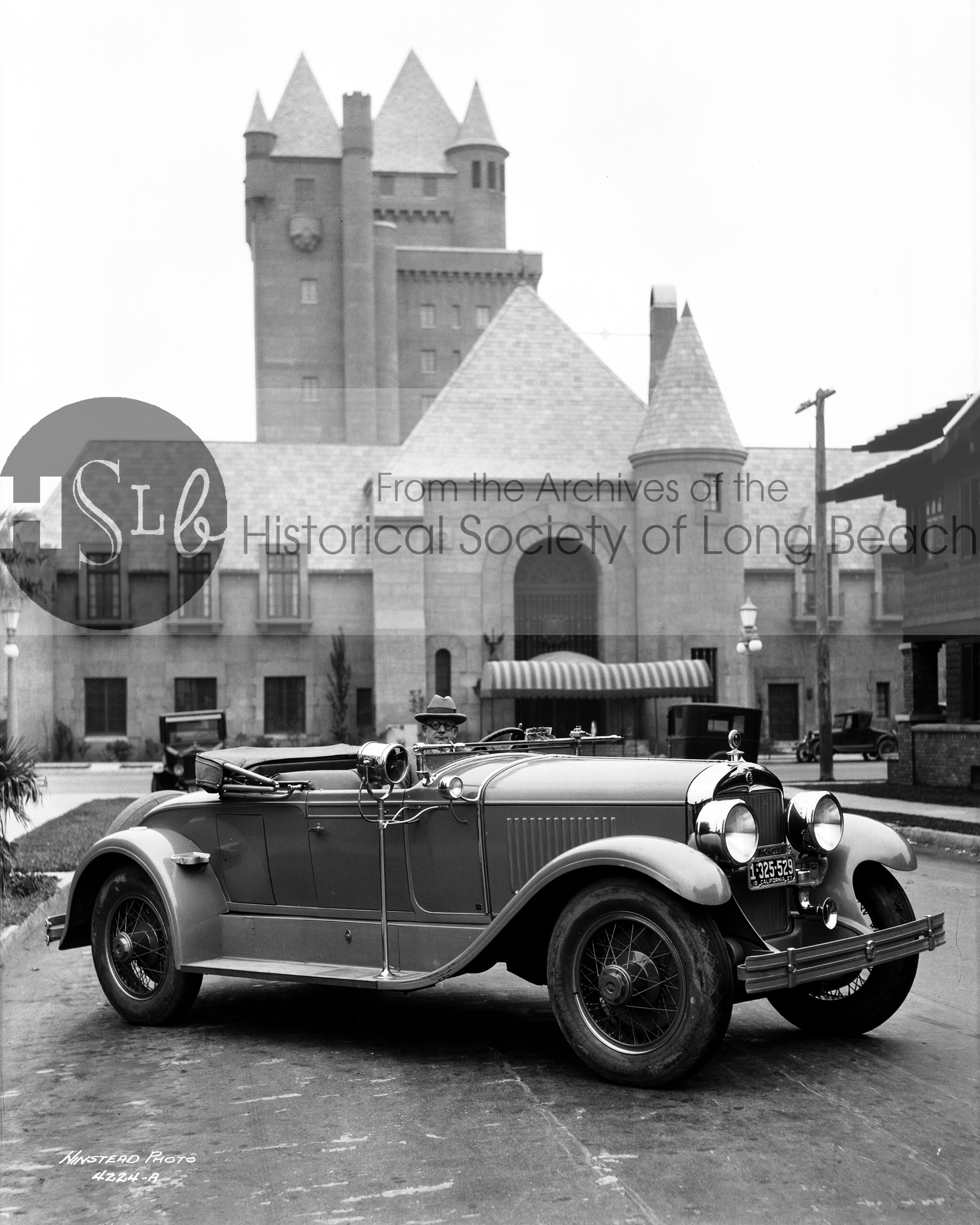 Historical long beach castle photograph and vintage car