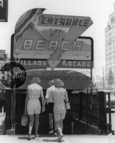 Pedestrian tunnel entrance from the north side of Ocean Blvd. to the beach, c. 1950s