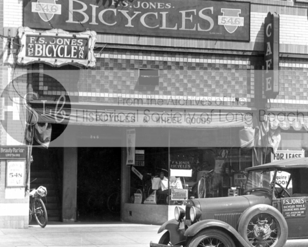 F.S. Jones Bicycle store, 546 American Ave., c. 1925