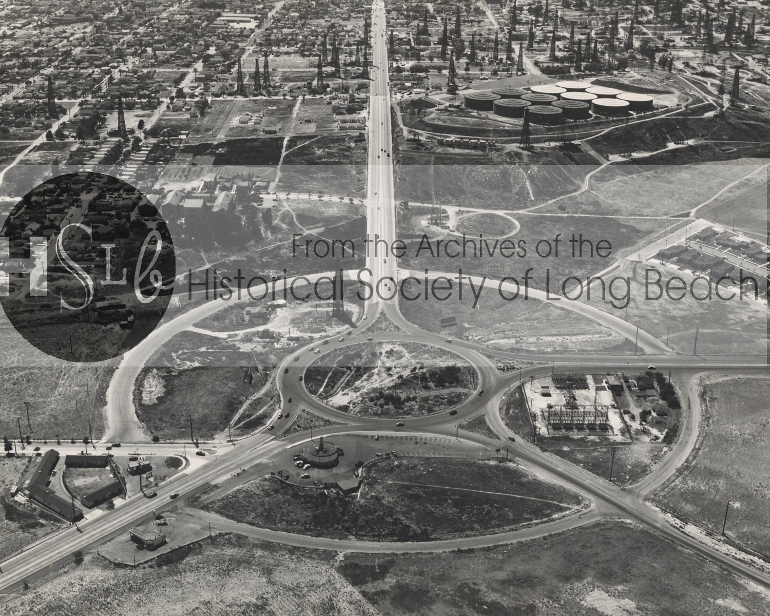 Arial photograph of long beach roads historical