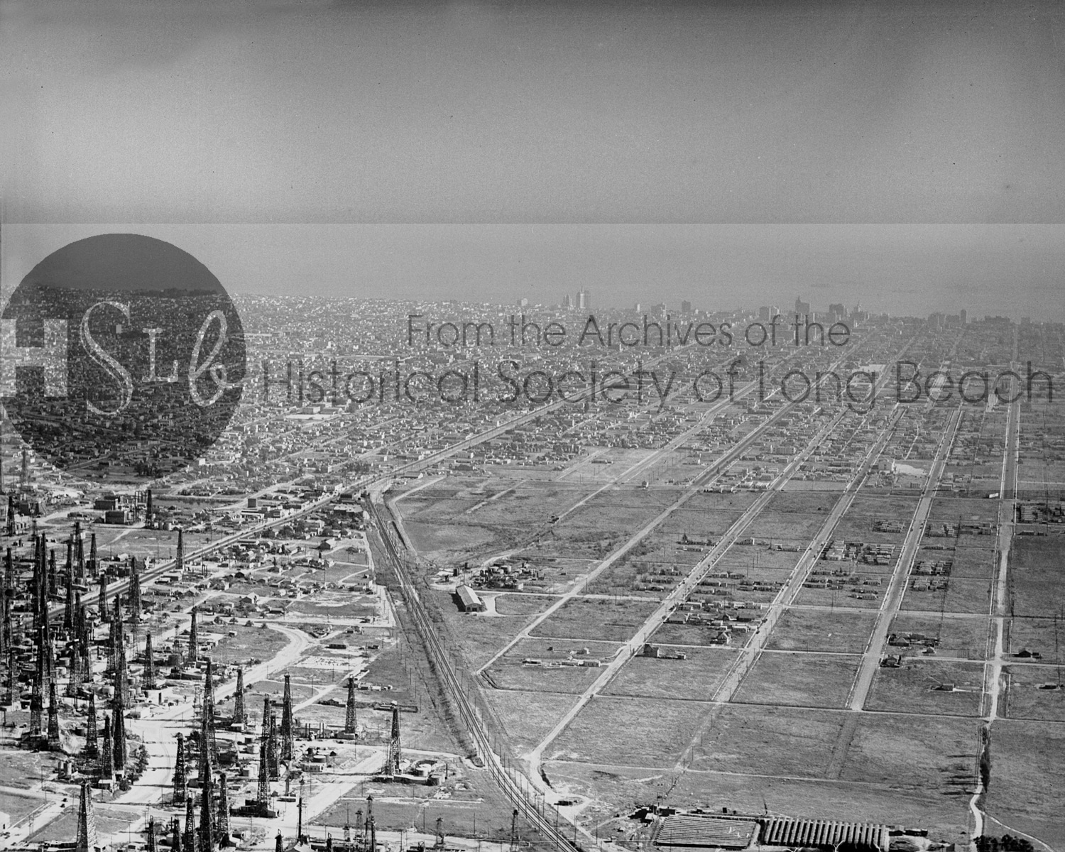 Historical arial photograph of long beach