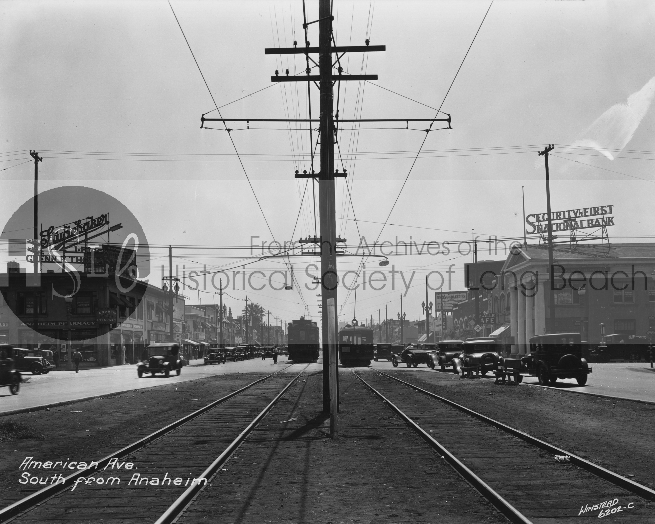Historical photograph of long beach train tracks