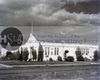 Long beach church in black and white vintage photograph