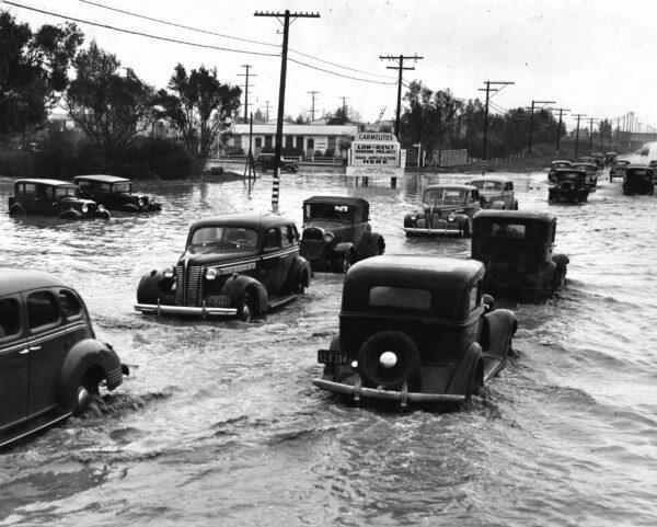 cars flooded in long beach
