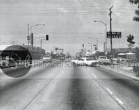 long beach street view vintage black and white photo