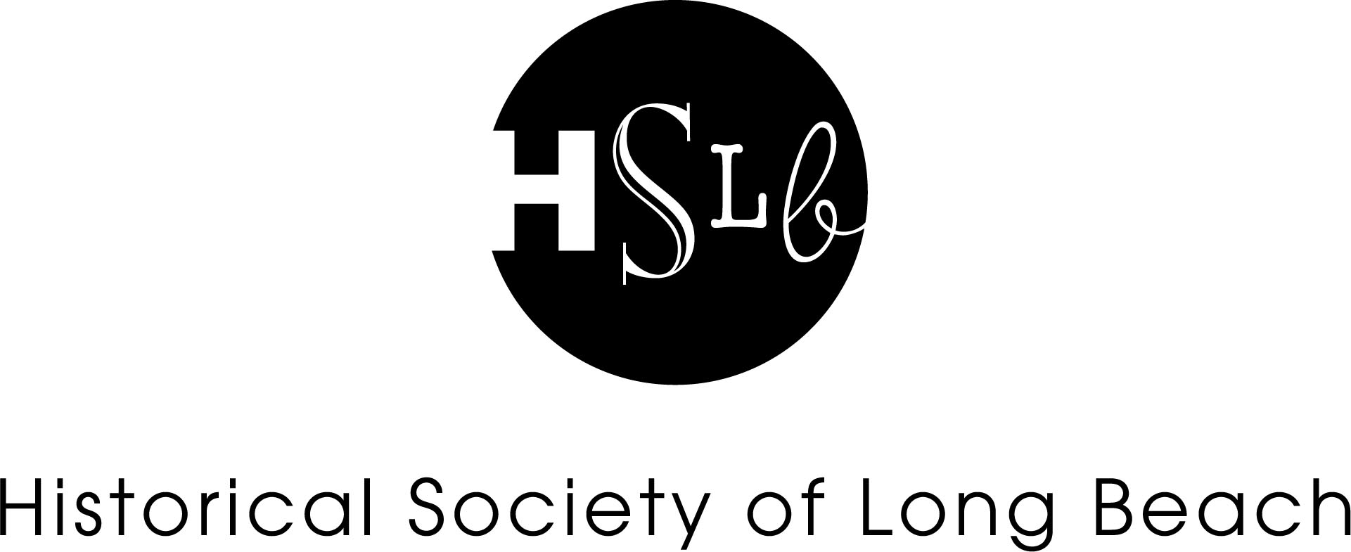 Historical society of long beach logo black and white
